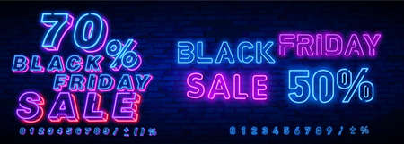 Big set Black Friday Neon Signs. Black Friday Vector illustration discount sale concept in neon style, online shopping and marketing concept. Ilustração