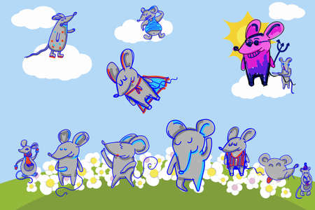 Funny mouse family, symbol of 2020 year. Banner for your design Ilustração