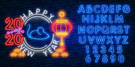 Chinese New Year neon sign, bright signboard, light banner. Chinese logo neon, emblem. 2020 Chinese. Ilustração