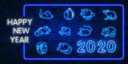 Collection of design cards for Chinese New Year 2020. Rat zodiac sign for greetings card, flyers, invitation, posters. Neon style.