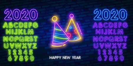 Birthday party. Neon hat cone and fireworks icon sign made of neon lamps with illumination.