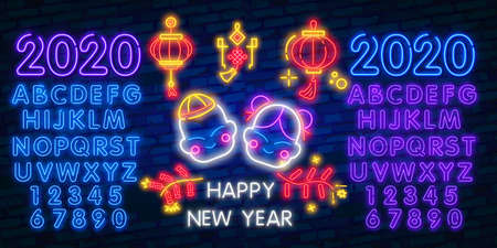 Chinese New Year neon text, bright signboard, light banner. Chinese logo neon, emblem. 2020 Chinese. Vector illustration