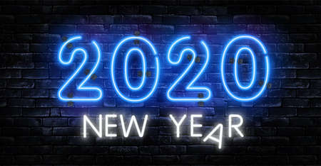 Neon 2020 new year signs vector isolated on brick wall. New year party light symbol, text decoration effect.