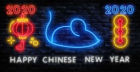 Chinese New Year 2020 Neon Sign Vector. Year of Rat Design Template. Chinese zodiac symbol of 2020 Vector Design. Hieroglyph means Rat. Holiday banner, Greetings neon card Ilustração
