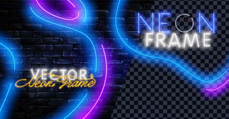 Set of realistic glowing neon frames of different colors isolated on transparent background. Shining and glowing neon effect. Every frame is separate unit with wires and tubes.