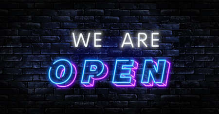 Open Neon Text Vector and a brick wall background. Open neon signboard, design template Ilustração