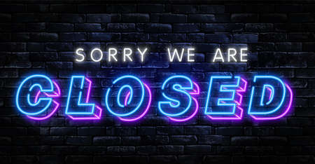 Sorry We are CLOSED neon text vector design template. Now Open neon logo, light banner design element colorful modern design trend