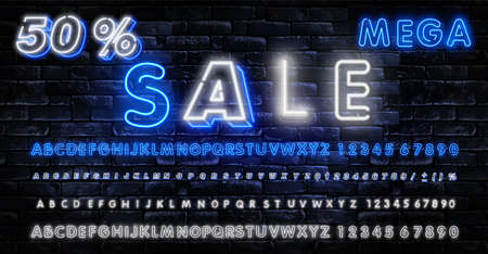 Black Friday sale neon sign, neon banner, background brochure. Bright glowing advertising, sales discounts Black Friday.
