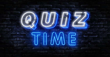 Quiz Time announcement poster neon signboard vector. Pub Quiz vintage styled neon glowing letters shining