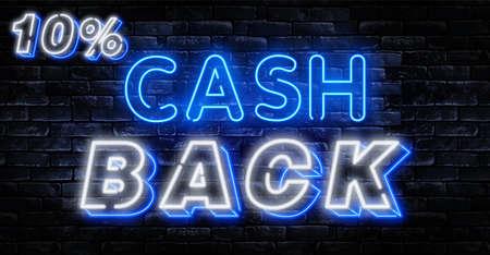 Cash Back sign vector design template. Cash Back symbols neon logo, light banner design element colorful modern design trend, night bright advertising, bright sign. Иллюстрация