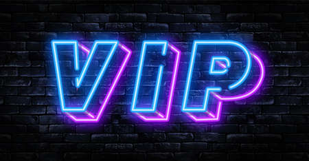 Vector realistic isolated neon sign of VIP logo for decoration and covering on the wall background. Иллюстрация