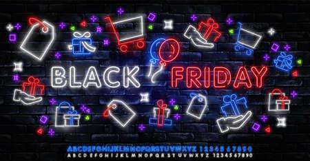 Black Friday Sale Neon Banner Vector. Black Friday neon sign, design template, modern trend design, night neon signboard, night bright advertising, light banner, light art. Vector illustration Иллюстрация