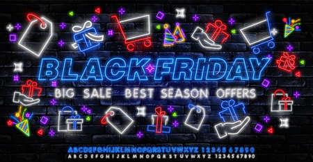 Black Friday Sale Neon Banner Vector. Black Friday neon sign, night neon signboard, night bright advertising, light banner, light art. Vector illustration