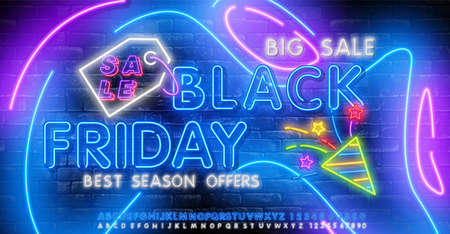 Neon Black Friday vector isolated, poster banner in neon style. Bright sign sales Black Friday discounts.