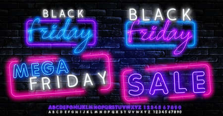 Black Friday neon label. Set of isolated neon sign for Black Friday. Neon logos on transparent background.