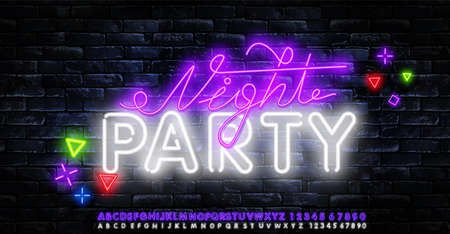 Vector Neon night Party Abstract Background for Banner, Poster, Brochure and Flyer for Eve, Party, Club and Celebration.