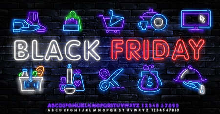 Black Friday neon label. Set of isolated neon sign for Black Friday.