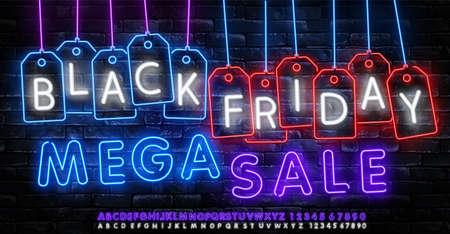 Black Friday Sale Neon Banner Vector. Black Friday neon sign, design template, modern trend design