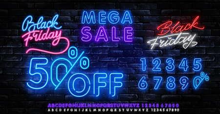Black Friday Sale Neon Banner Vector. Black Friday neon sign. 50 0FF night neon signboard, night bright advertising, light banner, light art. Vector illustration