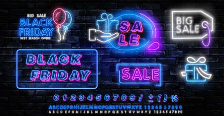 Black Friday neon label. Set of isolated neon sign for Black Friday. Neon logos on transparent background. Vector illustration Иллюстрация
