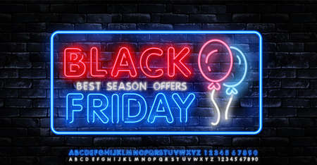 Black Friday Sale Neon Banner Vector. Black Friday neon sign, design template, modern trend design, night neon signboard, night bright advertising, light banner, light art. Vector illustration Ilustração