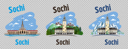 Sochi Russia City Skyline with Color Buildings, Blue Sky and Copy Space.
