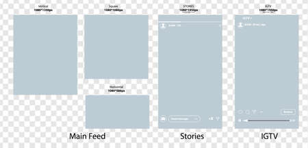 Templates for social media banner.Set of social stories and post frame templates.Vector cover. Mockup for personal blog or shop.