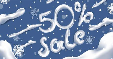 Winter sale vector banner design. Winter sale discount text