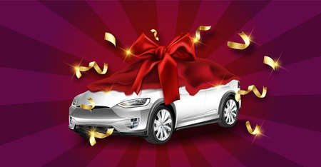 New car presentation, automobile lottery prize, expensive gift 3d realistic vector concept.