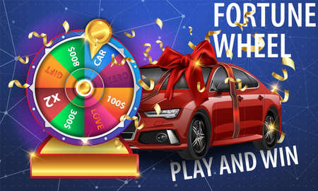 wheel of fortune 3d object isolated on blue background with the main prize the car tied with a ribbon with a red bow. place for text Play and Win