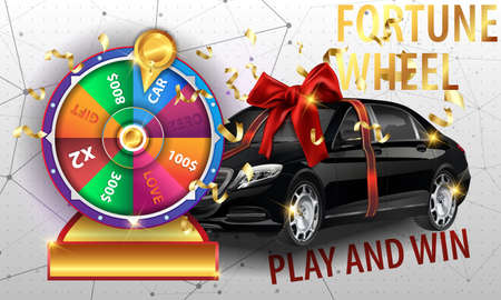 wheel of fortune 3d object isolated on white background place for text
