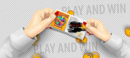 Scratch lottery ticket template. Scratch lottery in hands isolated. Jackpot template advertising. A hand scratching a lottery coins. Realistic vector illustration