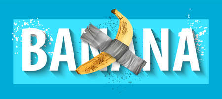 Duct tape Banana. Art installation at gallery wall.