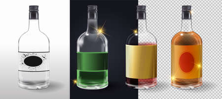 Glass bottles or glassware vector icons on transparent background. Glass wine vinegar bottle with plastic lid and blank label. Vector illustration. Glass bottle collection