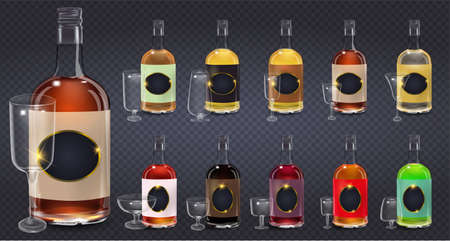 Glass bottles or glassware vector icons on transparent background