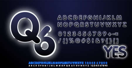 White Neon Light Alphabet Vector Font. Type letters, numbers and punctuation marks. Neon tube letters on dark background