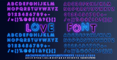 Neon Light Alphabet Vector Font. Type letters, numbers and punctuation marks. Neon white tube letters on dark background Иллюстрация