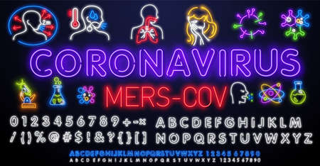 Neon MERS-CoV Middle East respiratory syndrome coronavirus . Neon light illustration. New Coronavirus 2019-nKoV . Design concept for protection against a viral pandemic.