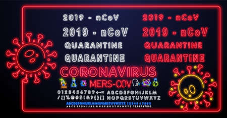 Coronavirus quarantine Lettering with neon lighting 일러스트