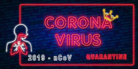 Coronavirus lettering with neon lighting