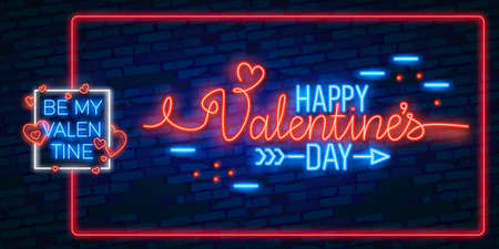 Valentines Day lettering with neon lighting