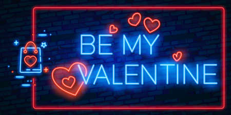 BE MY VALENTINE lettering with neon lighting