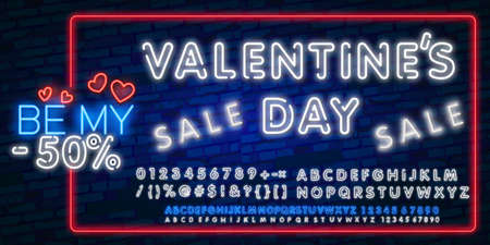 Valentines Day Sale lettering with neon lighting