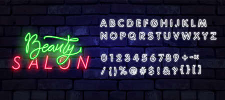 Neon Beauty Salon sign vector design template. Hairdress neon logo, light banner design element colorful modern design trend, night bright advertising, bright sign. Vector illustration Vectores