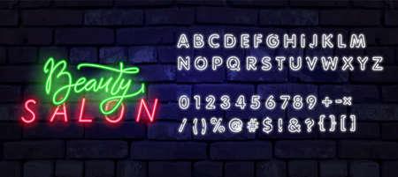 Neon Beauty Salon sign vector design template. Hairdress neon logo, light banner design element colorful modern design trend, night bright advertising, bright sign. Vector illustration Illustration
