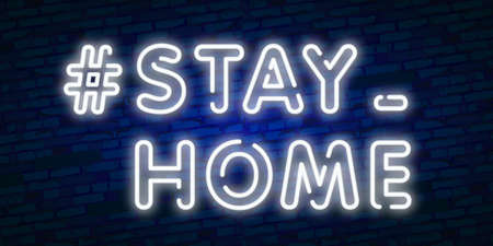 Vector realistic isolated neon sign of Stay Home design for invitation decoration and template covering Illustration