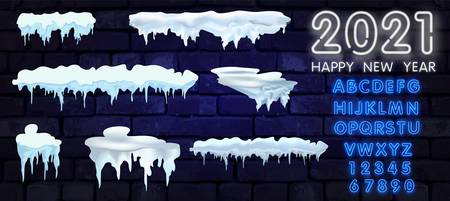 Big set of snow icicles and snow cap isolated. Cartoon snowy elements over winter background. Design template. Vector illustration.
