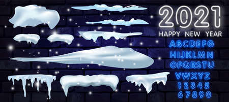 Big set of snow icicles and snow cap isolated. Cartoon snowy elements over winter background. Design template. Vector illustration. Illusztráció