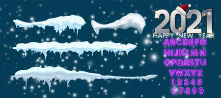 2021 New year decoration kit for your design. Isolated snow caps set on menu bar and buttons. Icicles and snowflakes with neon alphabet