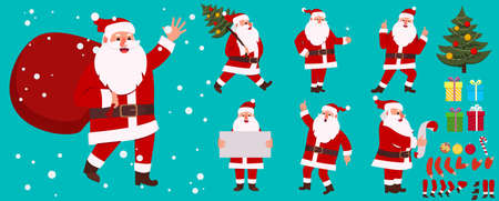 Cartoon santa claus animation set. Winter holiday character creation kit with emotions, gestures. Vector santa with red bag in hands, christmas tree, plaque sign, present boxes Vettoriali